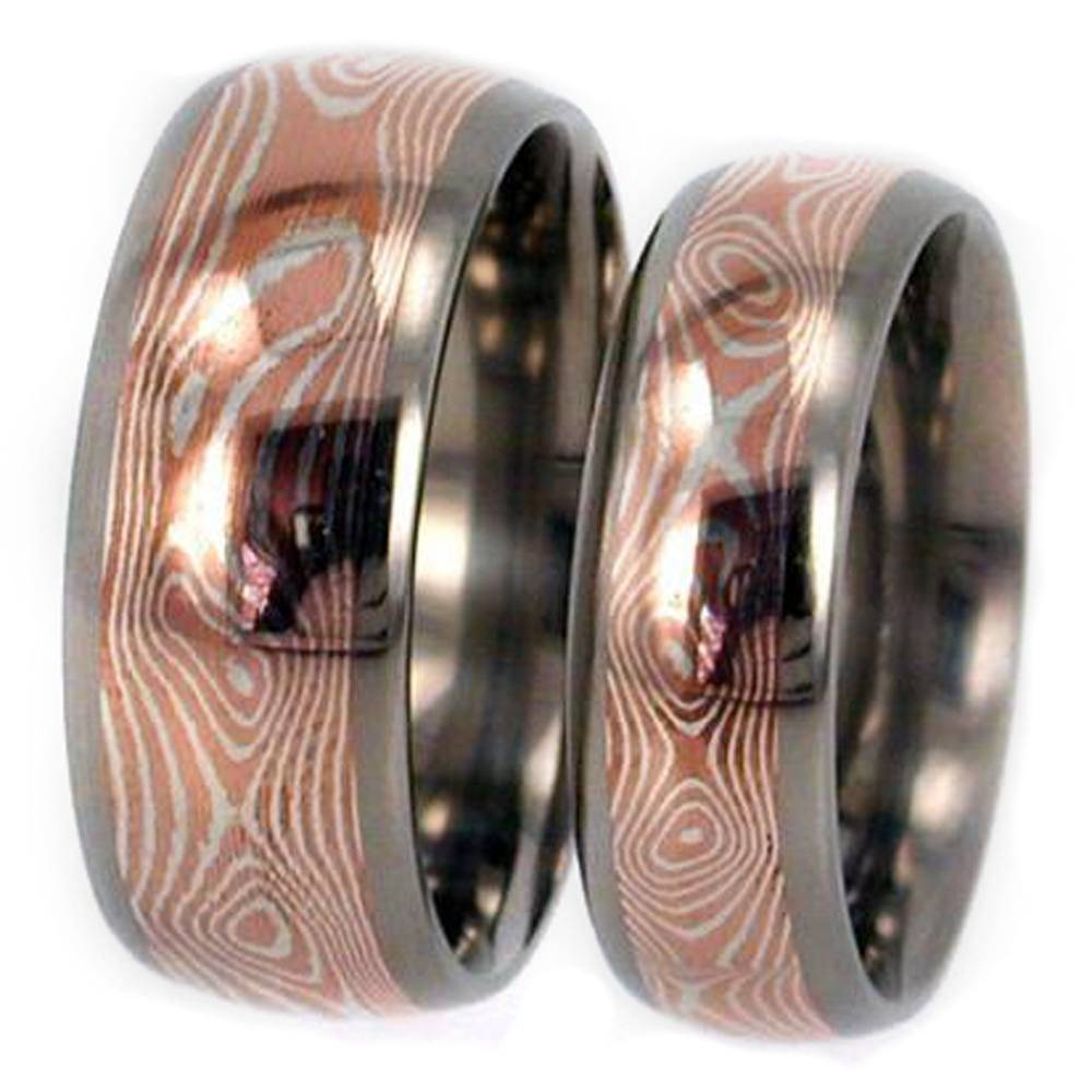 Copper/silver Mokume Gane Wedding Bands In Titanium Intended For Mokume Wedding Bands (View 4 of 15)