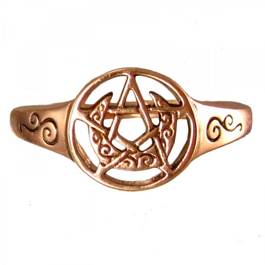 Crescent Moon And Pentacle Copper Ring – Wicca, Witchcraft, Pagan For Wiccan Engagement Rings (View 10 of 15)