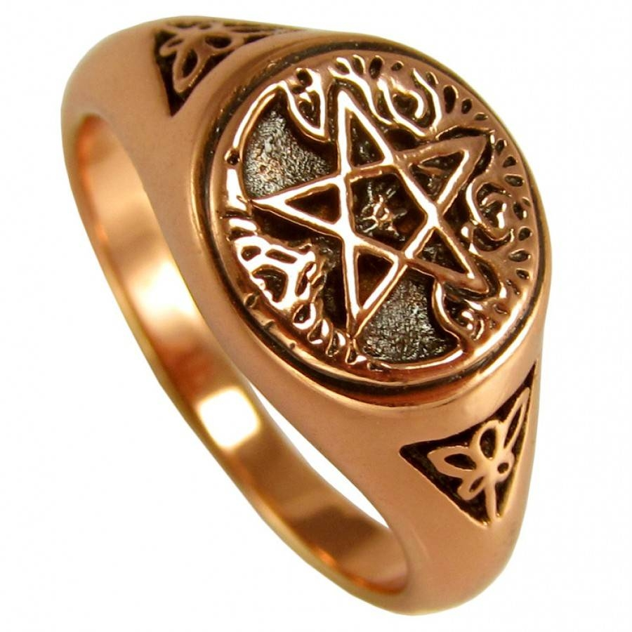 Crescent Moon And Pentacle Copper Ring – Wicca, Witchcraft, Pagan Pertaining To Wiccan Engagement Rings (View 11 of 15)