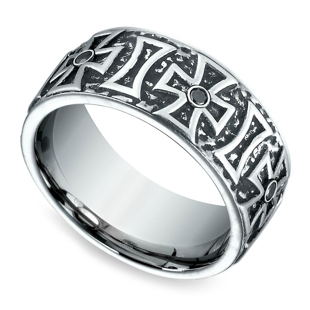 Cross Black Diamond Men's Wedding Ring In Cobalt (9mm) With Men's Wedding Bands With Crosses (View 13 of 15)