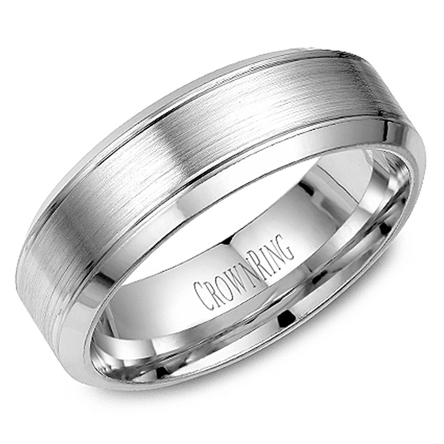 Crown Ring Wb 9089 M10 Wedding Band Within Platinum Wedding Rings For Him (View 10 of 15)