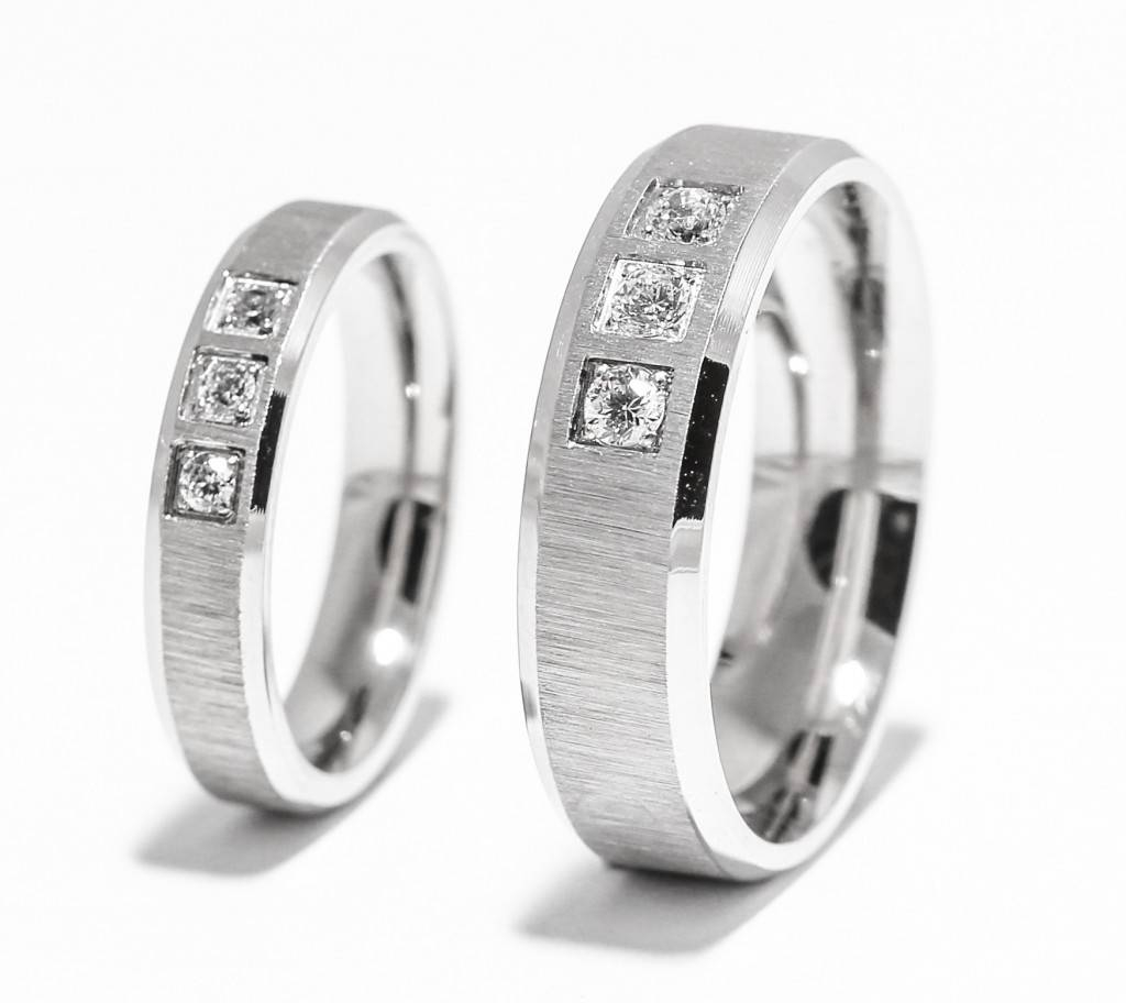 Crystal Inlay Three Stone Titanium Wedding Rings – Zoey Throughout Flashy Wedding Rings (View 8 of 15)