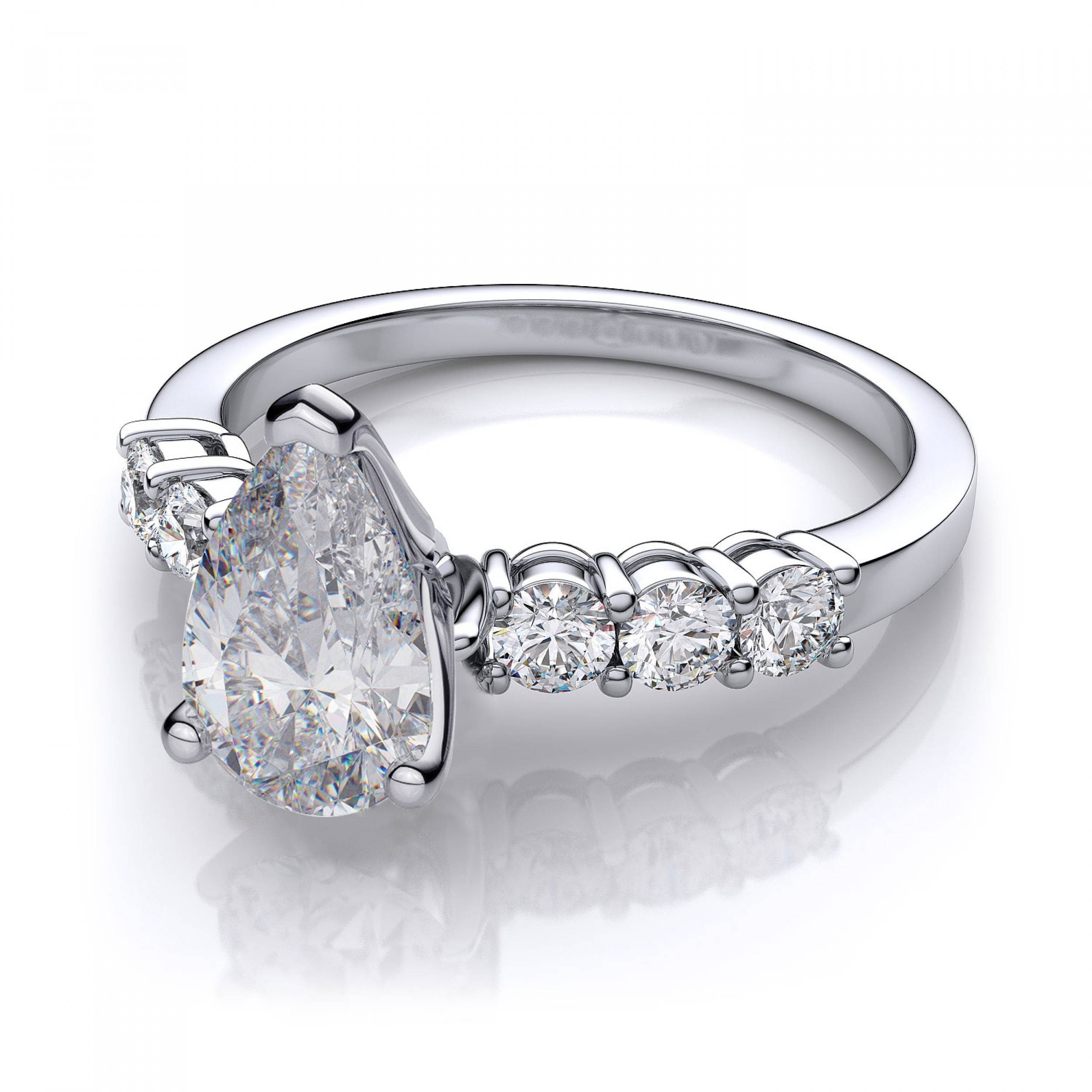 Ctw 6 Stone Pear Shape Sidestones Engagement Ring Setting In 14K Within Pear Shaped Engagement Ring Settings (View 10 of 15)