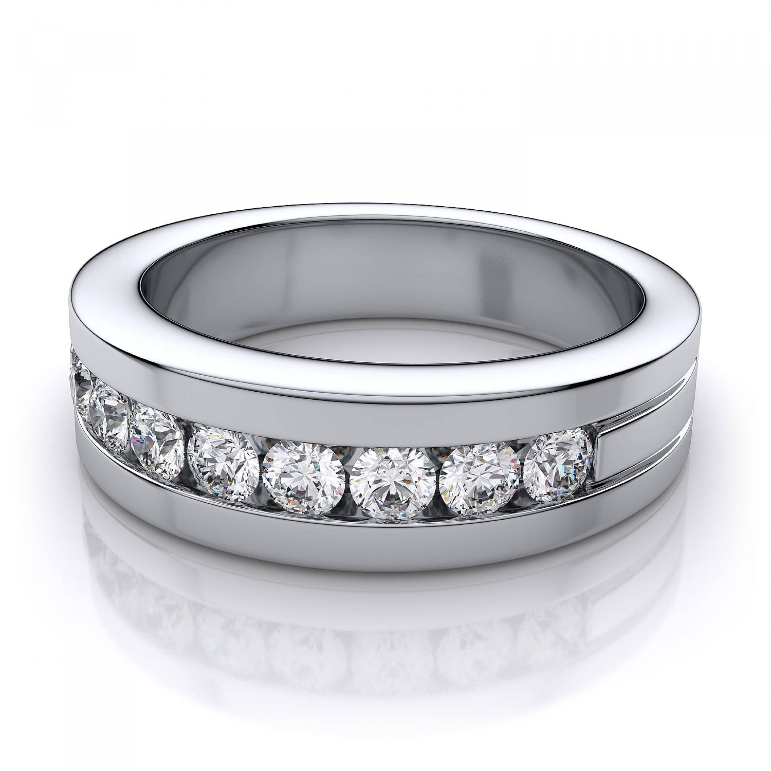 Ctw Channel Set Mens Diamond Band In 18K White Gold Si H I With Regard To White Gold Male Wedding Bands (View 4 of 15)