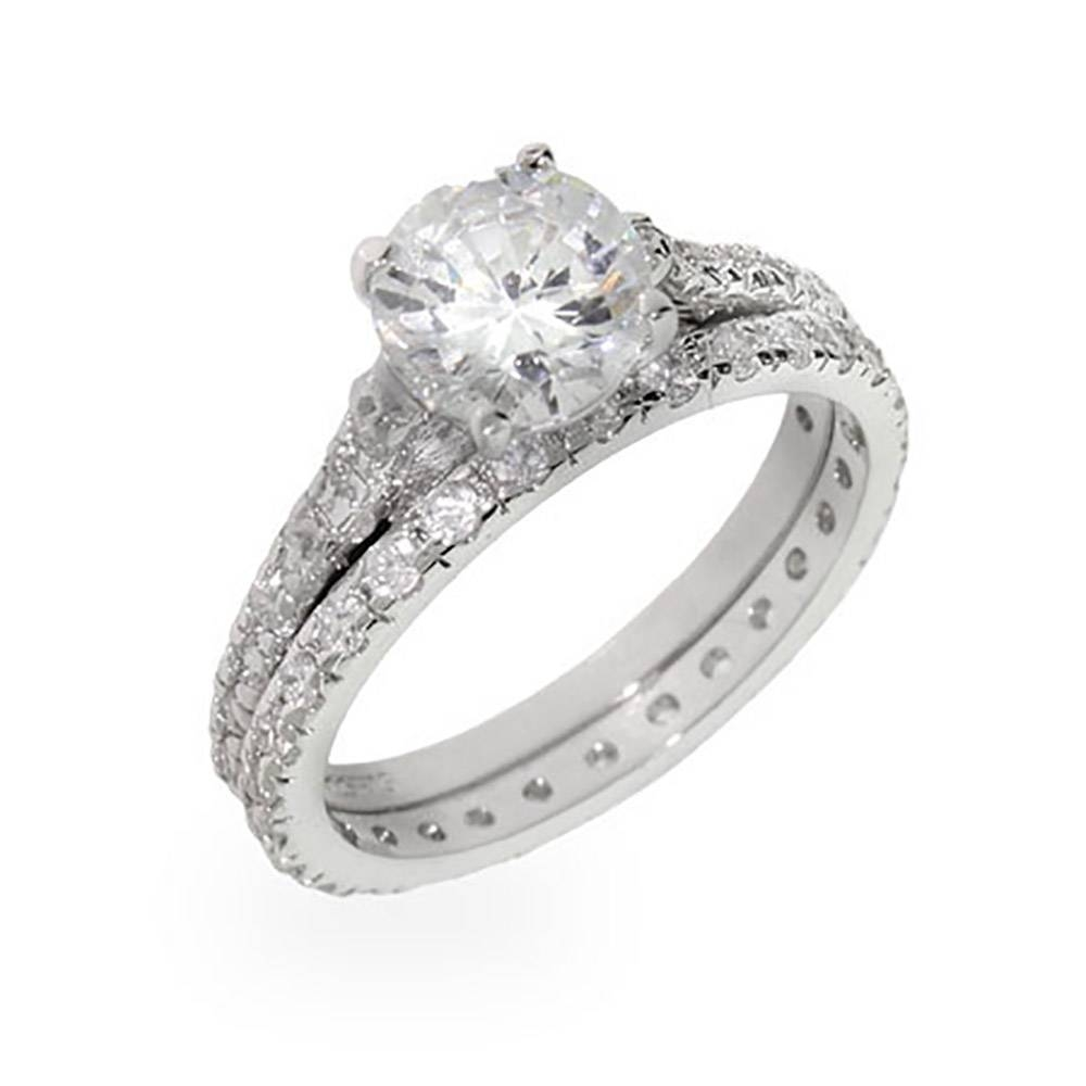 Cubic Zirconia Engagement Rings | Eve's Addiction® Within Silver Engagement Ring Sets (View 3 of 15)