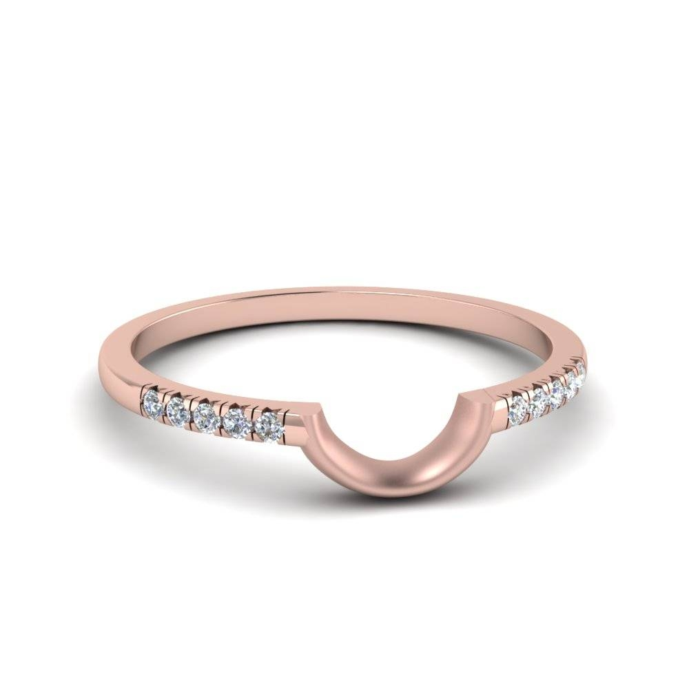Curved French Pave Diamond Band In 14K Rose Gold | Fascinating Pertaining To Pave Diamond Wedding Rings (View 8 of 15)