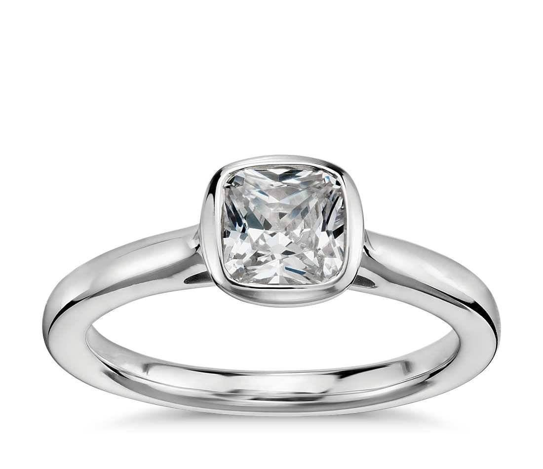 Cushion Cut Bezel Set Solitaire Engagement Ring In Platinum – Shop With Regard To Bezel Wedding Rings (View 4 of 15)