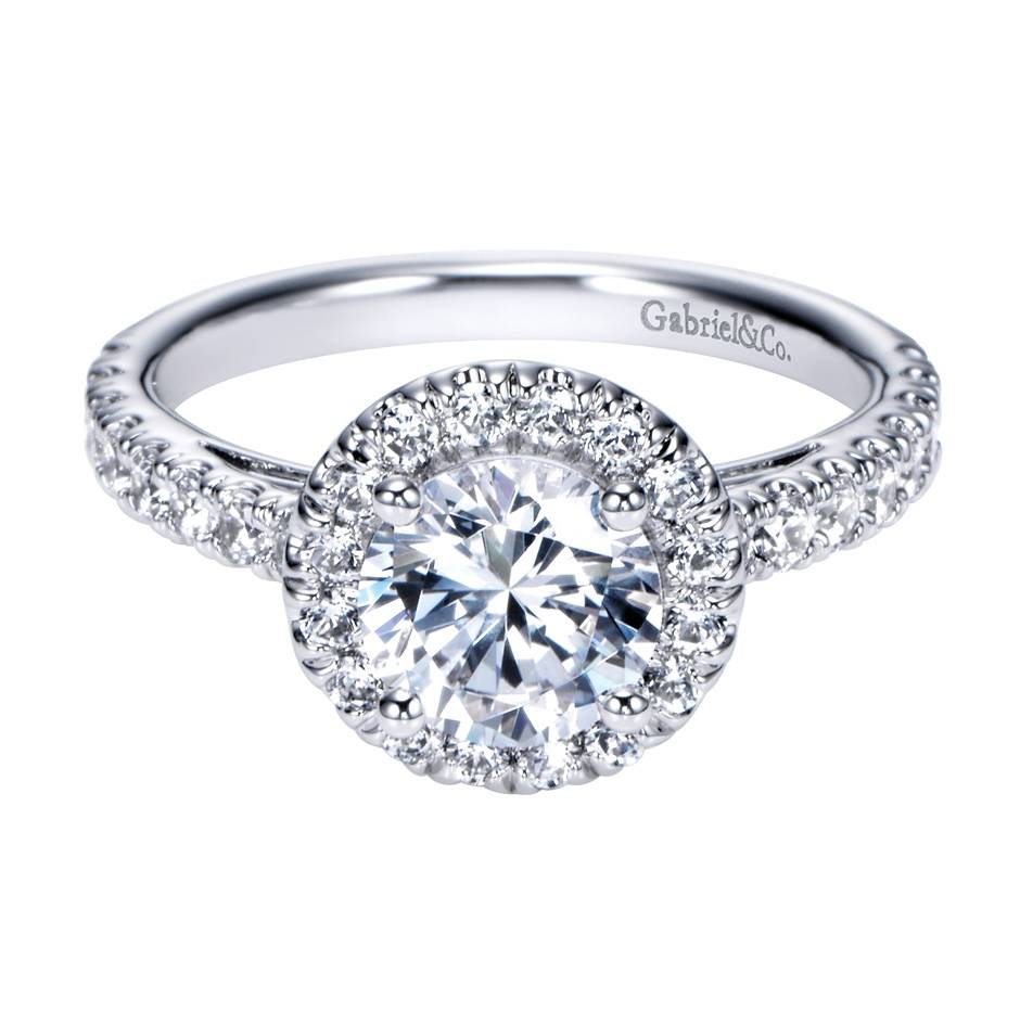 Cushion Cut Diamond Engagement Ring In 14k White Gold | Best With White Gold And Diamond Wedding Rings (View 7 of 15)