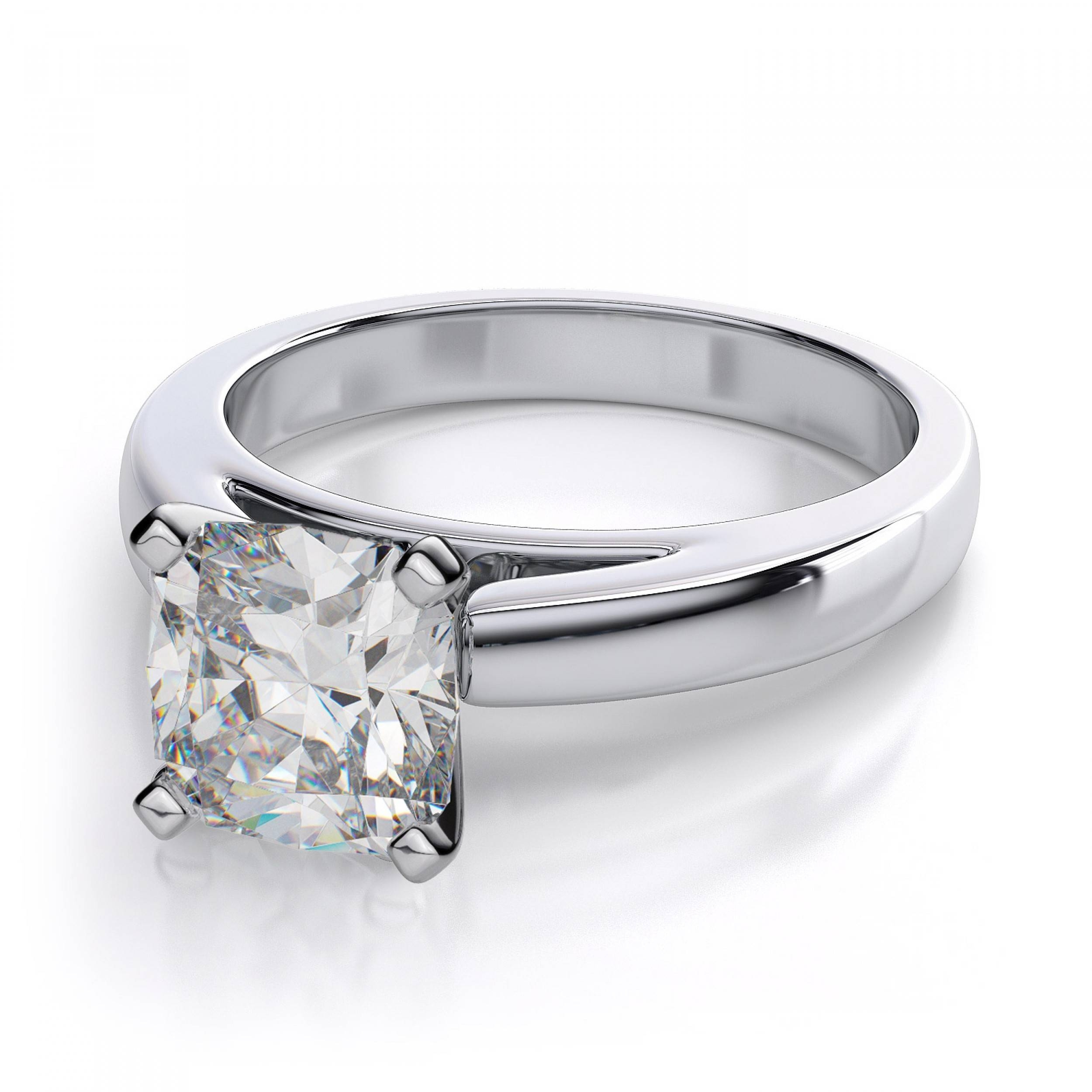 Cushion Cut Diamond Engagement Ring – Platinum Regarding Diamond Wedding Rings Settings (View 6 of 15)