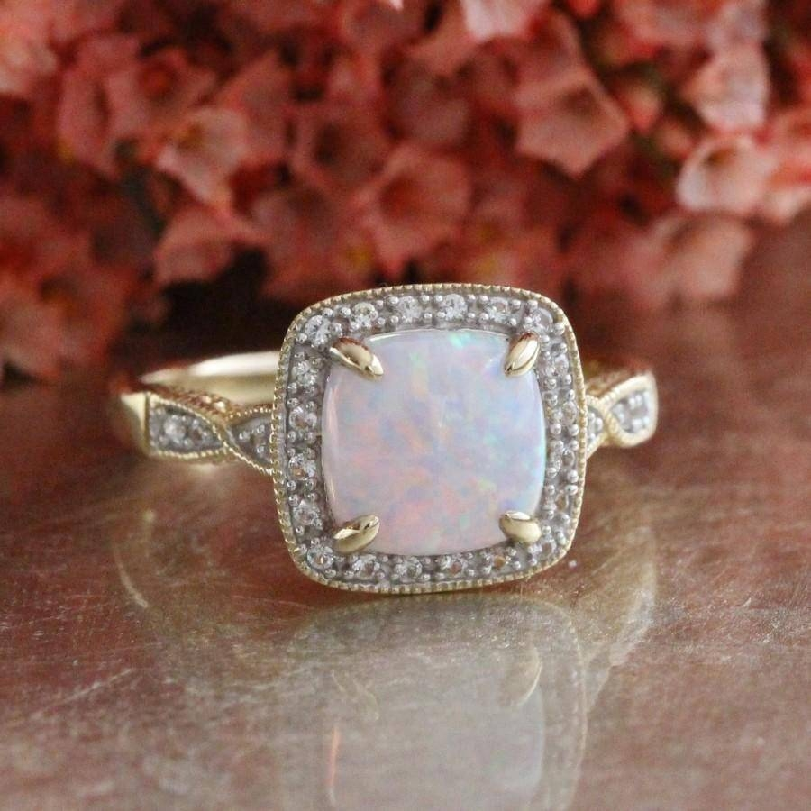 Cushion Cut Opal Engagement Ring In 10K Yellow Gold Color Gemstone In October Birthstone Engagement Rings (View 4 of 15)