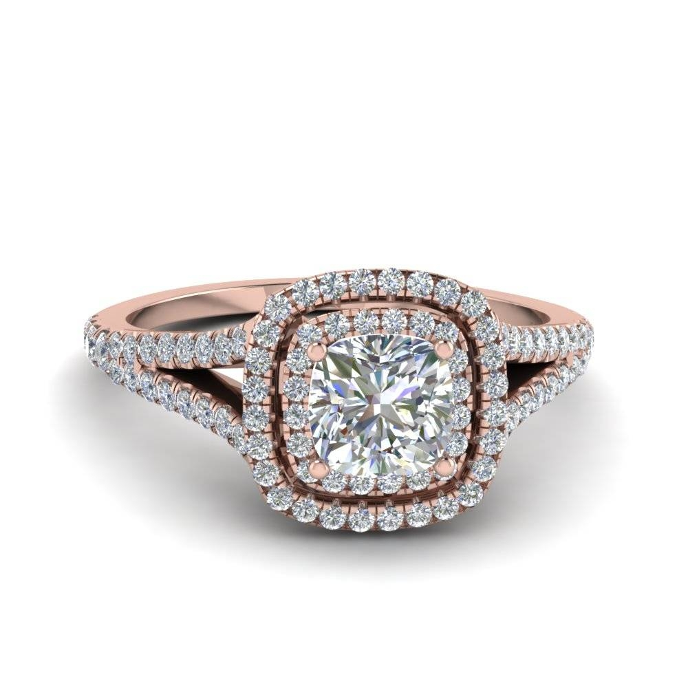Cushion Cut Split Double Halo Diamond Engagement Ring In 14k Rose With Halo Diamond Wedding Rings (View 14 of 15)