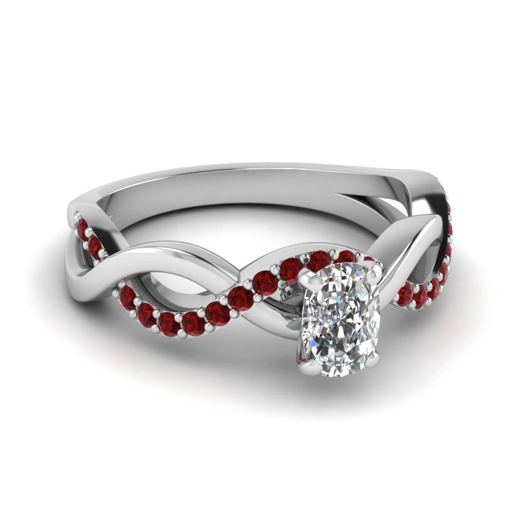 Cushion Diamond Twisted Ring With Ruby In 14k White Gold In Ruby Engagement Rings White Gold (View 8 of 15)