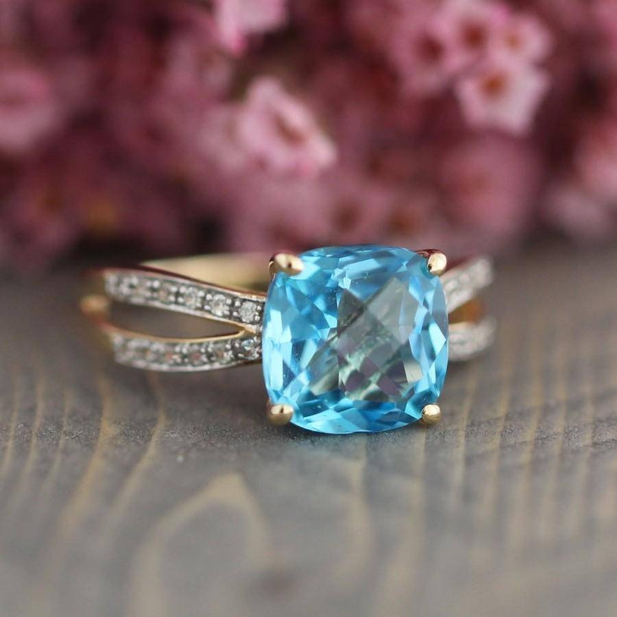 Cushion Swiss Blue Topaz Engagement Ring In 10K Yellow Gold With Regard To Engagement Rings With December Birthstone (View 4 of 15)