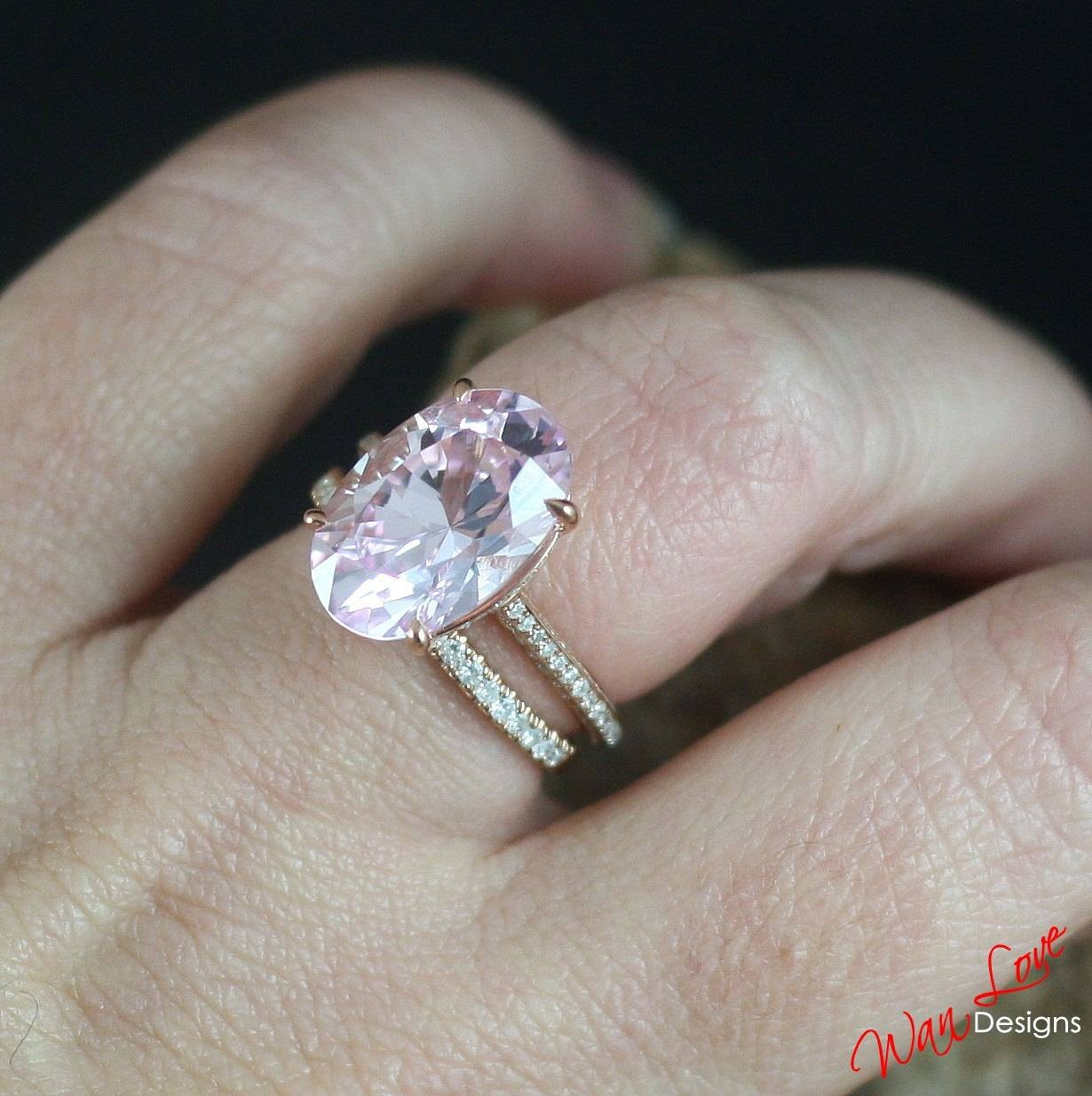 Custom Celebrity Light Pink & White Sapphire Engagement Ring Regarding Light Pink Wedding Rings (View 3 of 15)