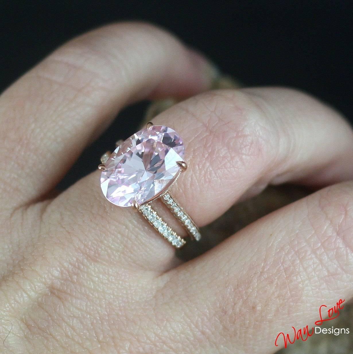 Custom Celebrity Light Pink & White Sapphire Engagement Ring Regarding Light Pink Wedding Rings (View 4 of 15)