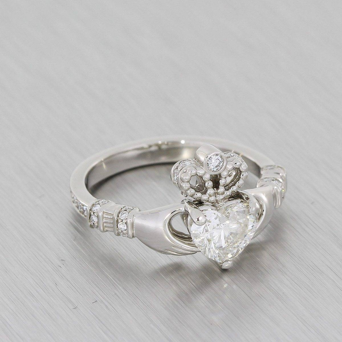 Custom Cut Heart Diamond Platinum Claddagh Ring – Portfolio Throughout Custom Claddagh Engagement Rings (View 10 of 15)
