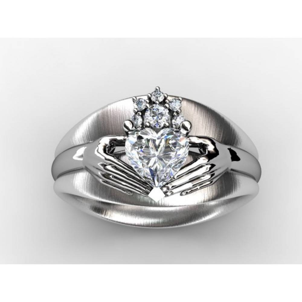 Custom Diamond Engagement Ring Fine Jewelry Setting (without Center) Intended For Claddagh Diamond Engagement Rings (View 6 of 15)