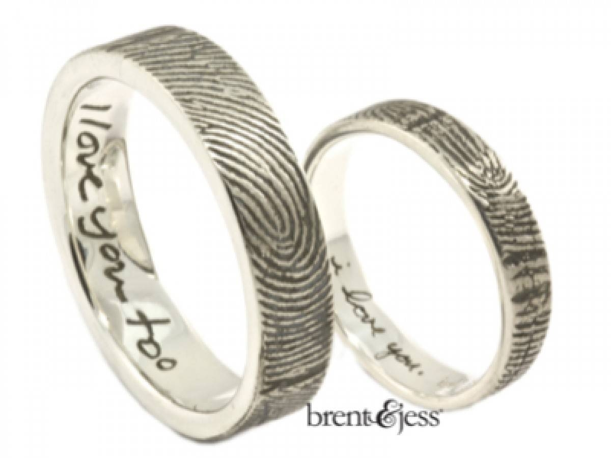 Custom Handmade Fingerprint Jewelrybrent&jess For Fingerprint Wedding Rings (View 6 of 15)