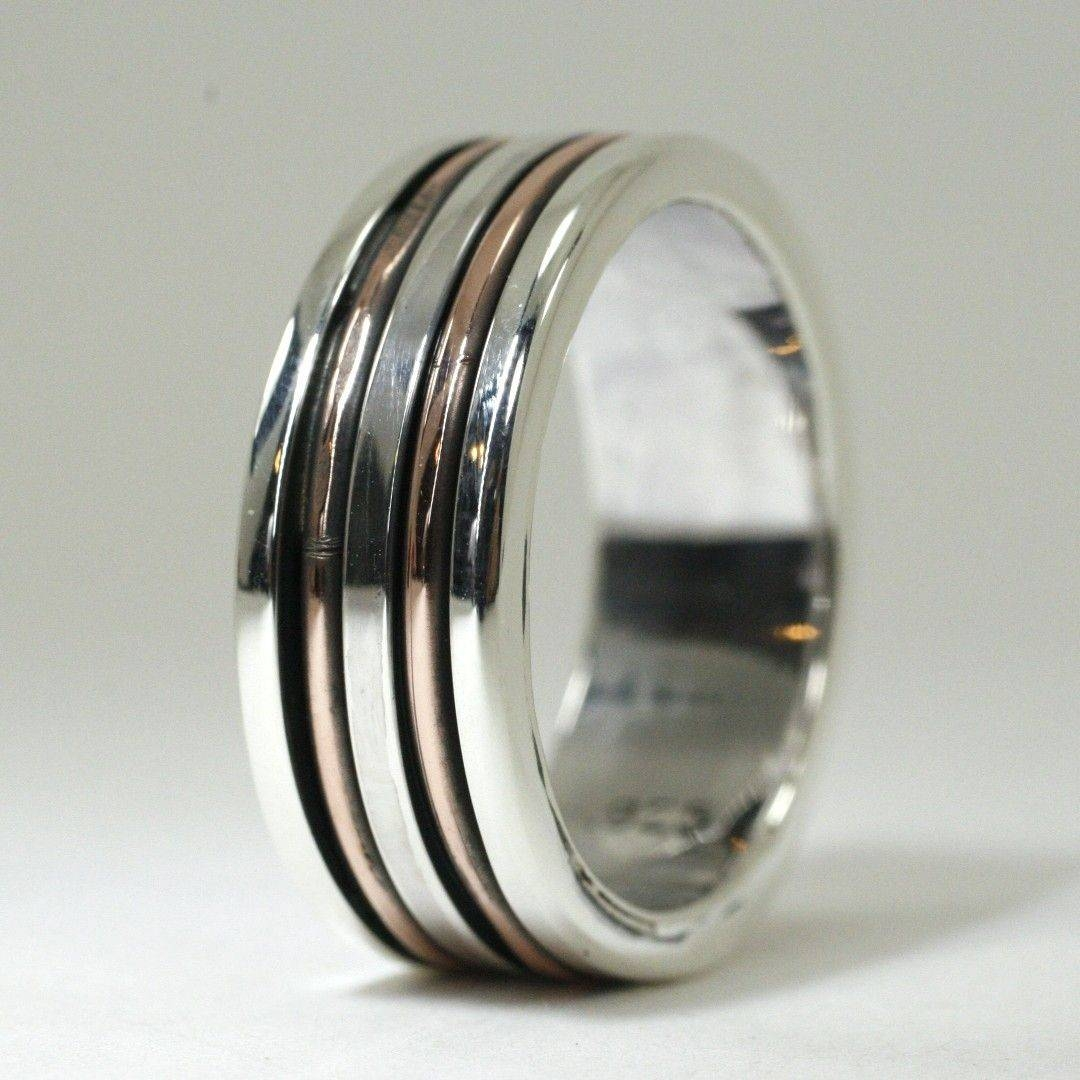 Custom Made Mens Sterling And Copper Wedding Bandearth Art Gem Within Custom Wedding Bands For Him (View 3 of 15)