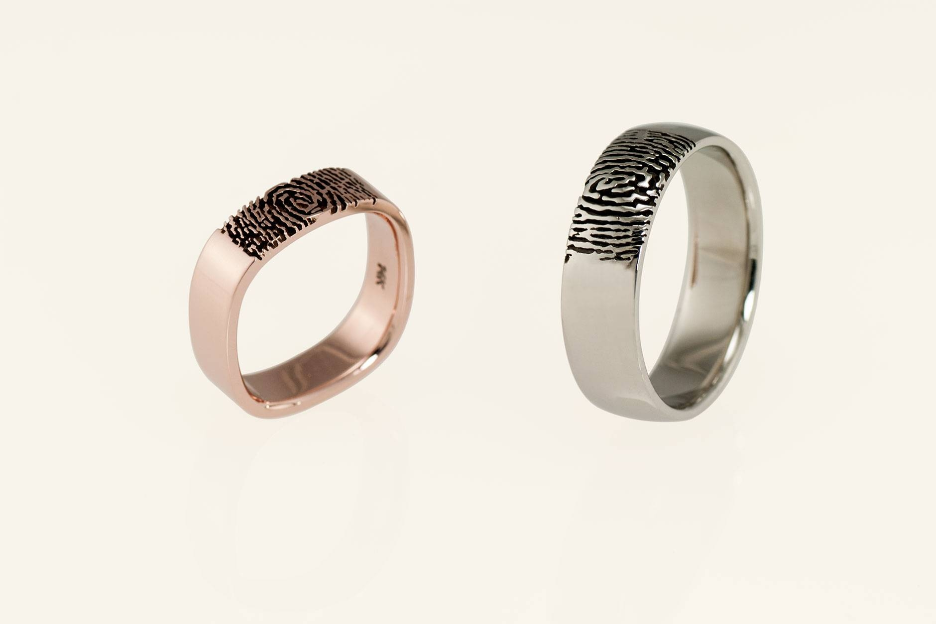 Custom Matching His Her Fingerprint Wedding Rings In 18K & 14K Throughout Fingerprint Wedding Rings (View 11 of 15)