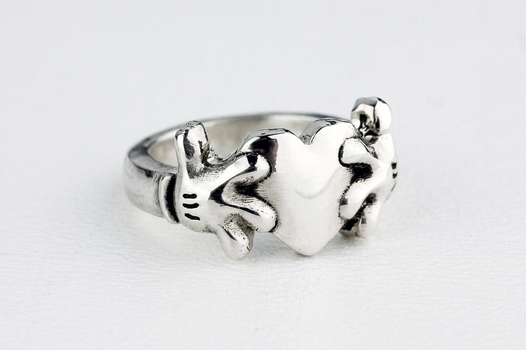Custom Mickey Mouse Heart Claddagh Inspired Ringrock My World For Custom Claddagh Engagement Rings (View 9 of 15)
