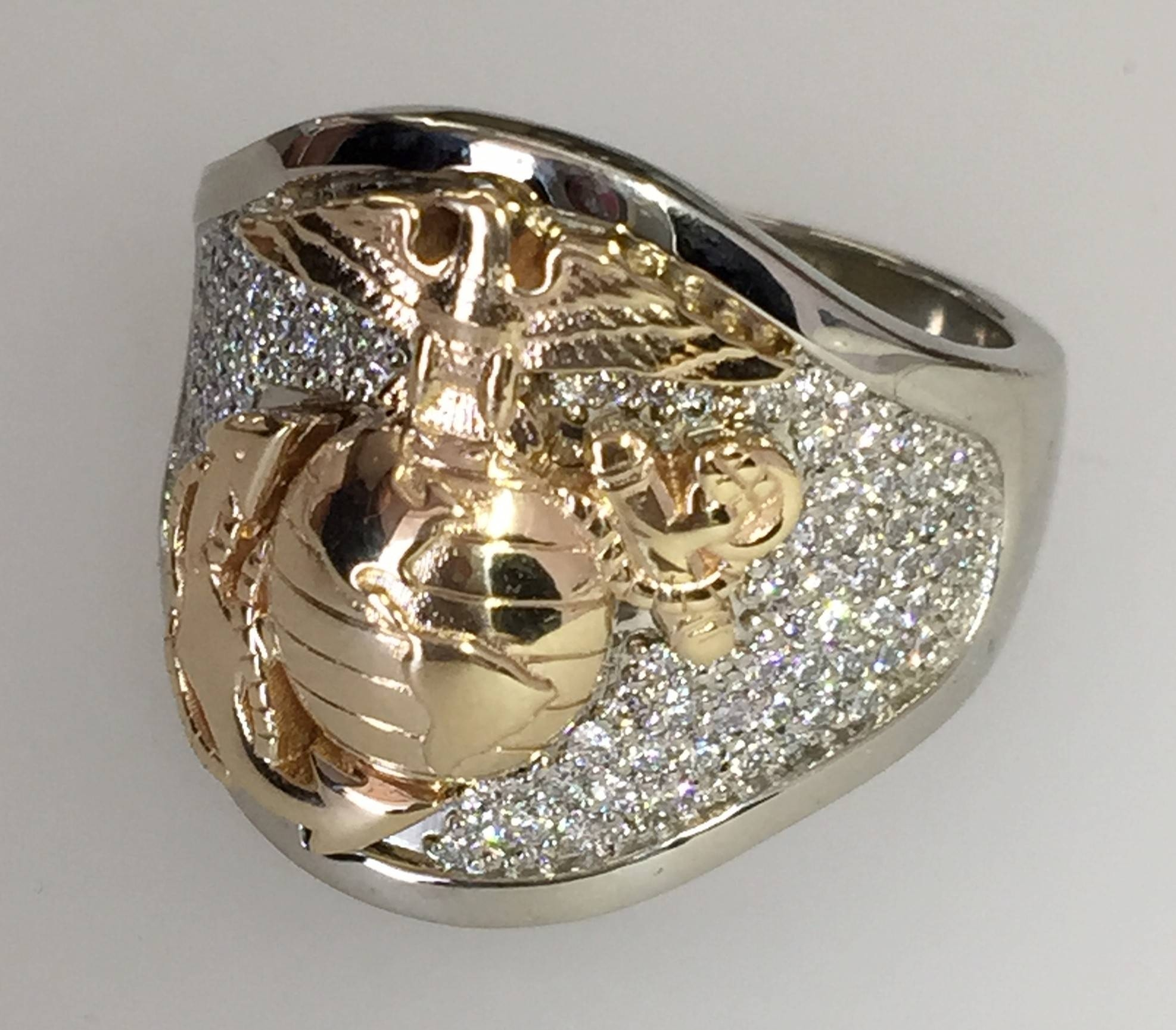 Custom Military Rings Designedusmc Veteran Owned Business And Within Usmc Wedding Bands (View 6 of 15)