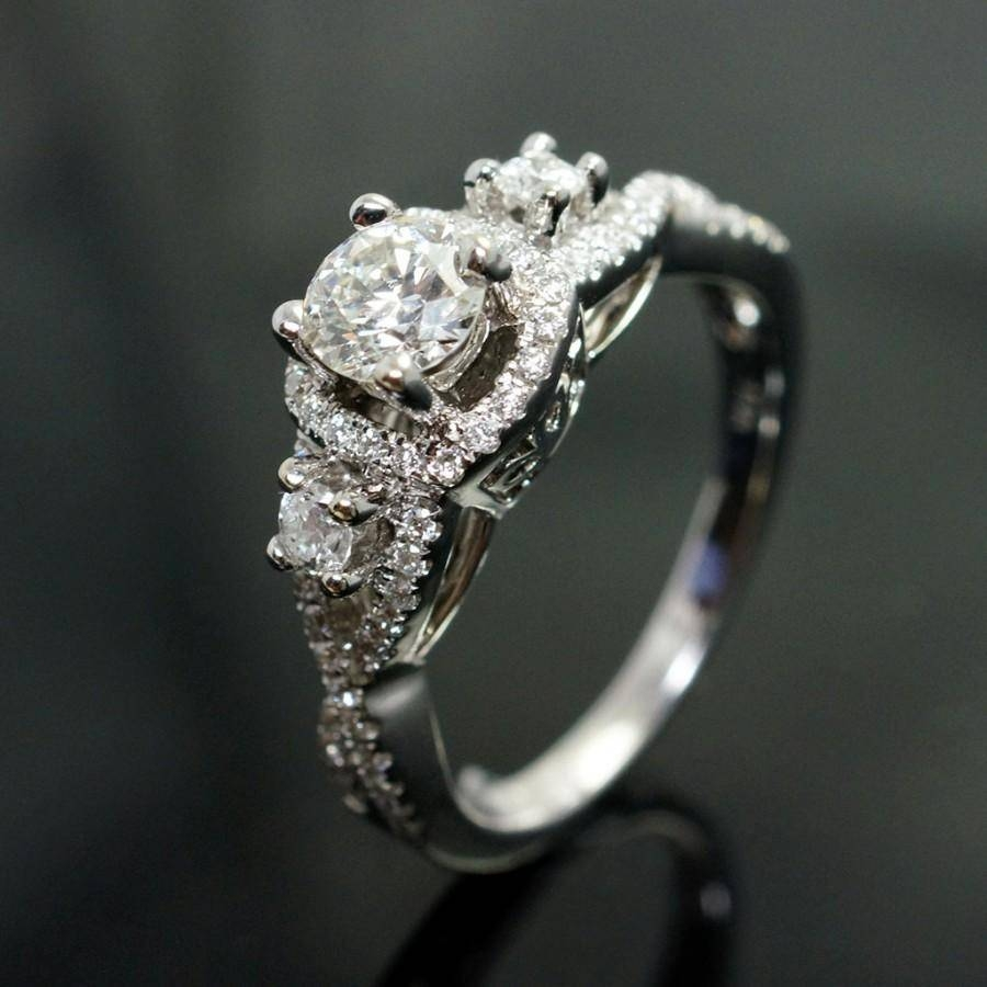 Custom Petite Diamond Engagement Ring 14K White Gold 3 Stone Regarding Custom Engagement Ring Settings (View 8 of 15)