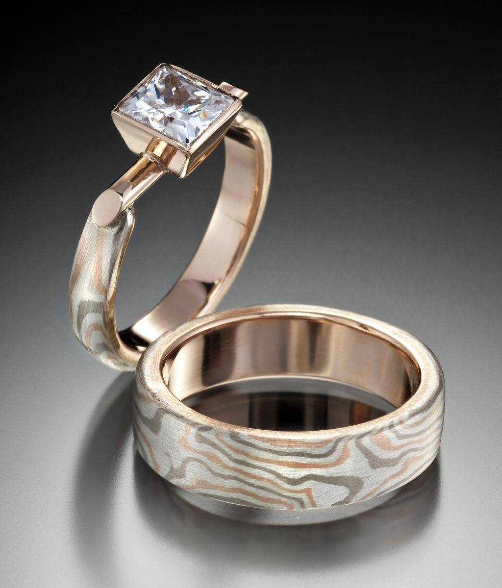Custom Recycled Mokume Gane Wedding Set, Rolling Star Pattern Intended For Mokume Gane Engagement Rings (View 4 of 15)