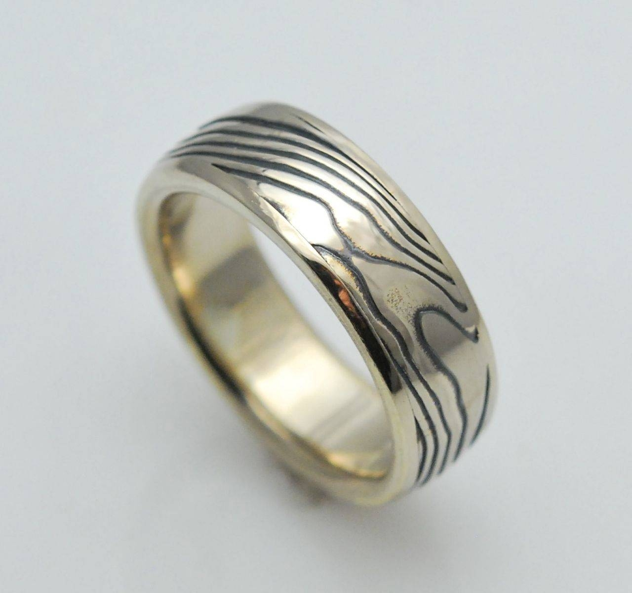 Custom Wood Grain Mokume Gane Ring In White Metal Combination With Mokume Gane Engagement Rings (View 14 of 15)