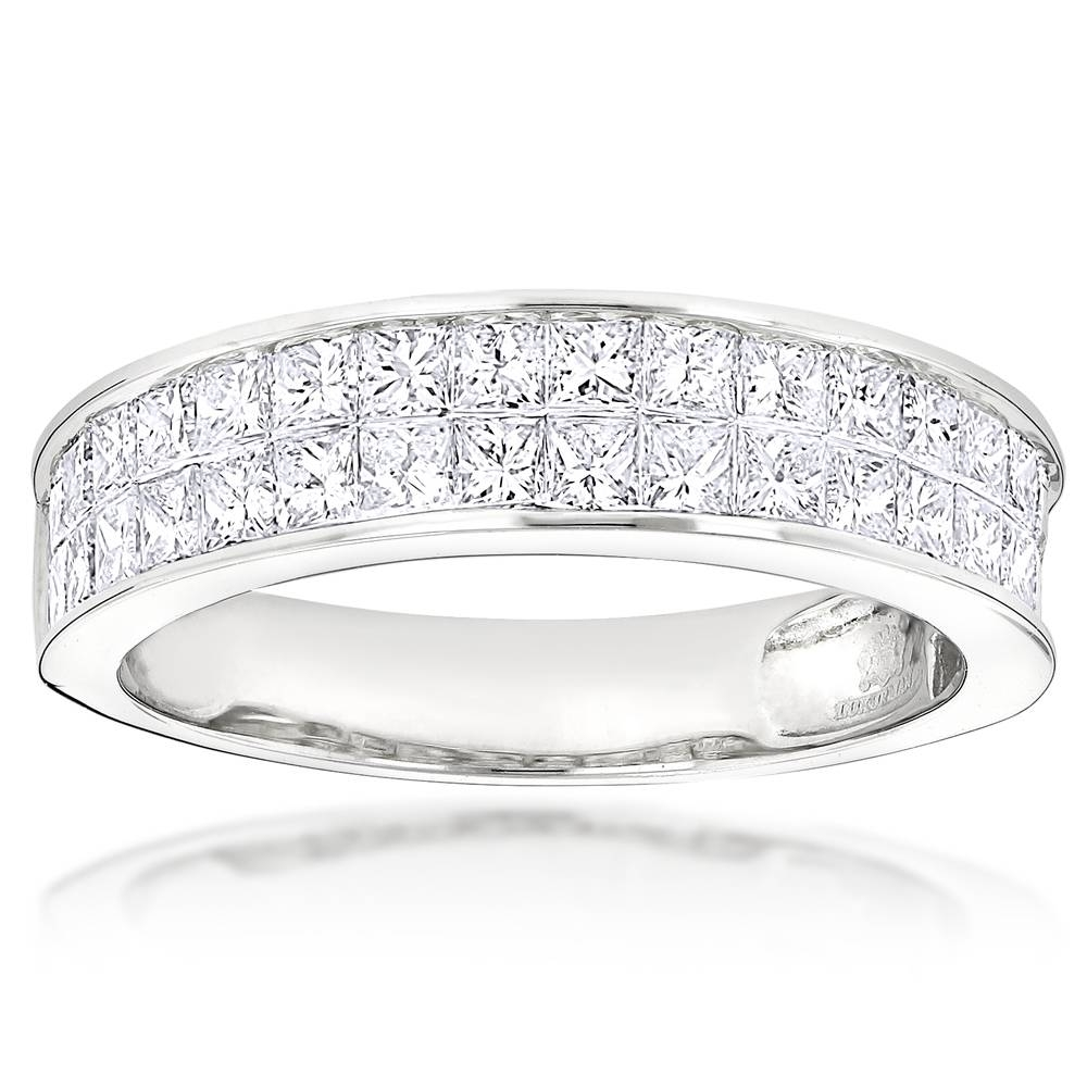 Cut Invisible Set Diamond Wedding Rings 14K Gold Band 2Ct Within Invisible Setting Engagement Rings (Gallery 15 of 15)