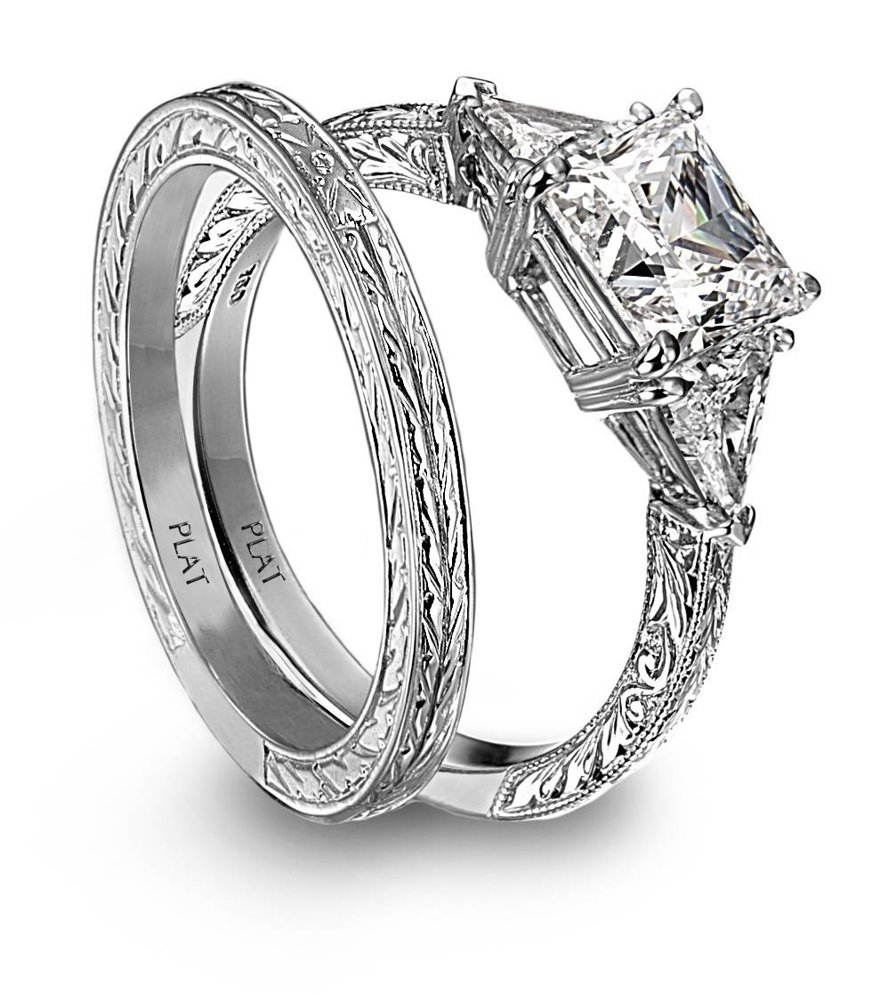 Cut Platinm And Diamond Engagement Ring And Engraved Wedding Band Throughout Engrave Wedding Bands (View 5 of 15)