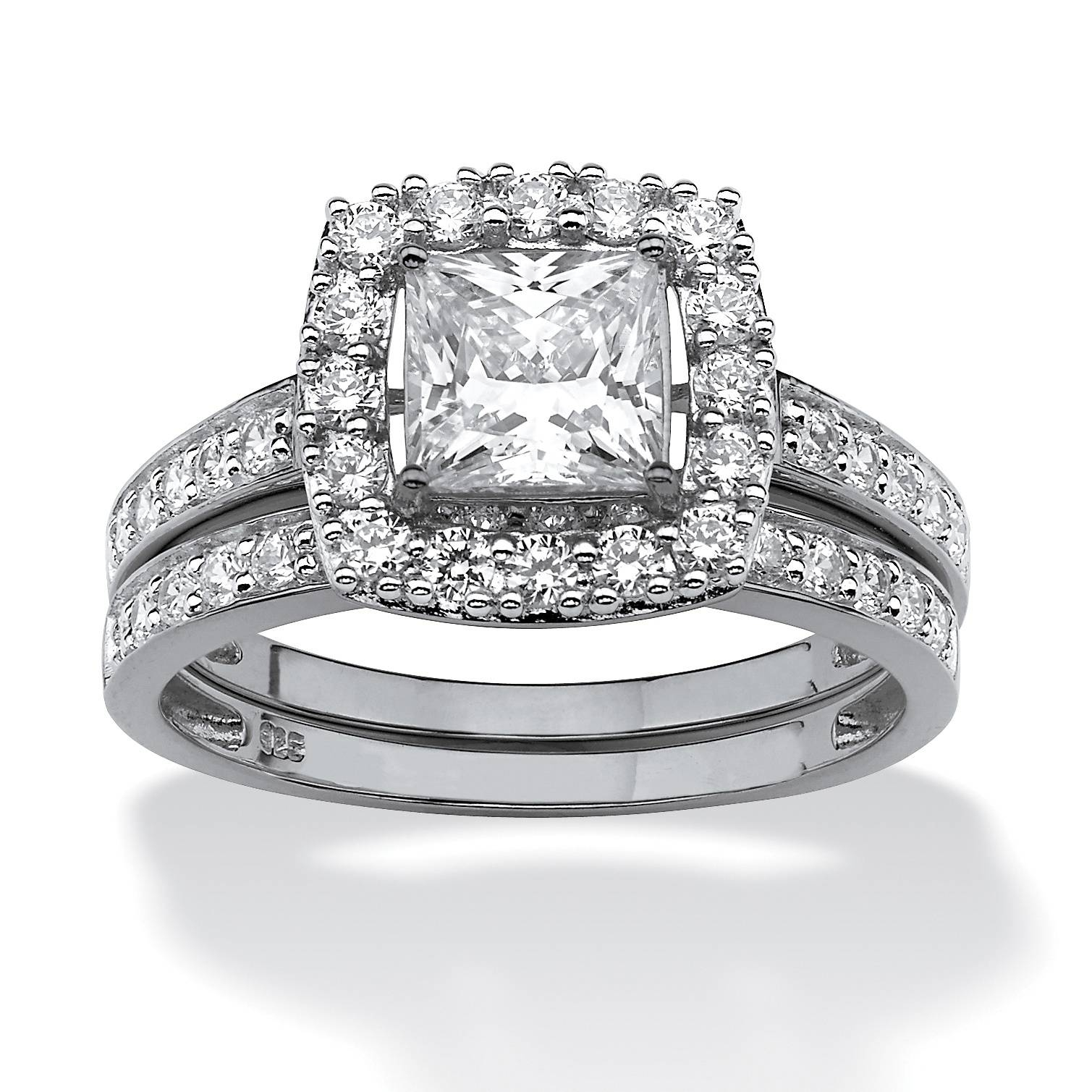 Cz 18kt White Gold Bridal Engagement Ring – Walmart In White Gold Zirconia Wedding Rings (View 8 of 15)
