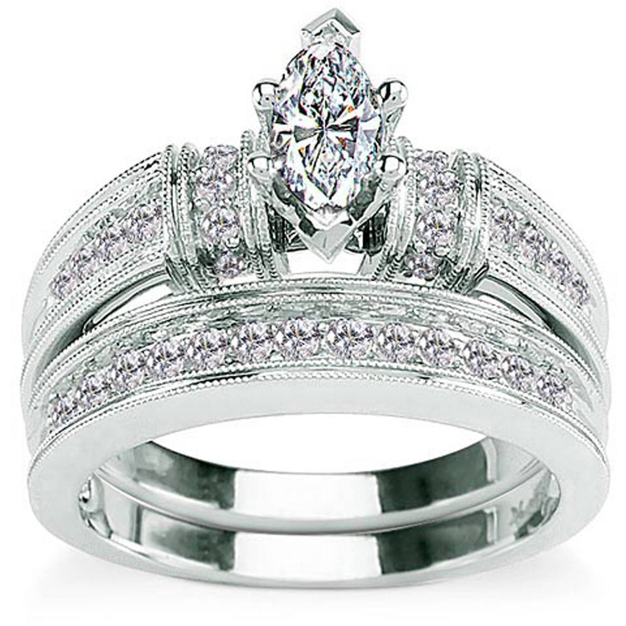 Cz 18Kt White Gold Bridal Engagement Ring – Walmart Pertaining To Walmart White Gold Engagement Rings (View 2 of 15)