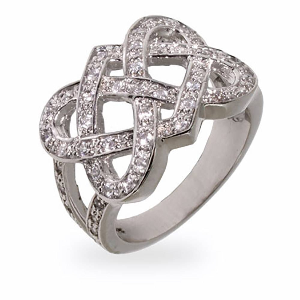 Cz Celtic Knot Sterling Silver Ring | Eve's Addiction® Within Celtic Love Knot Engagement Rings (View 6 of 15)