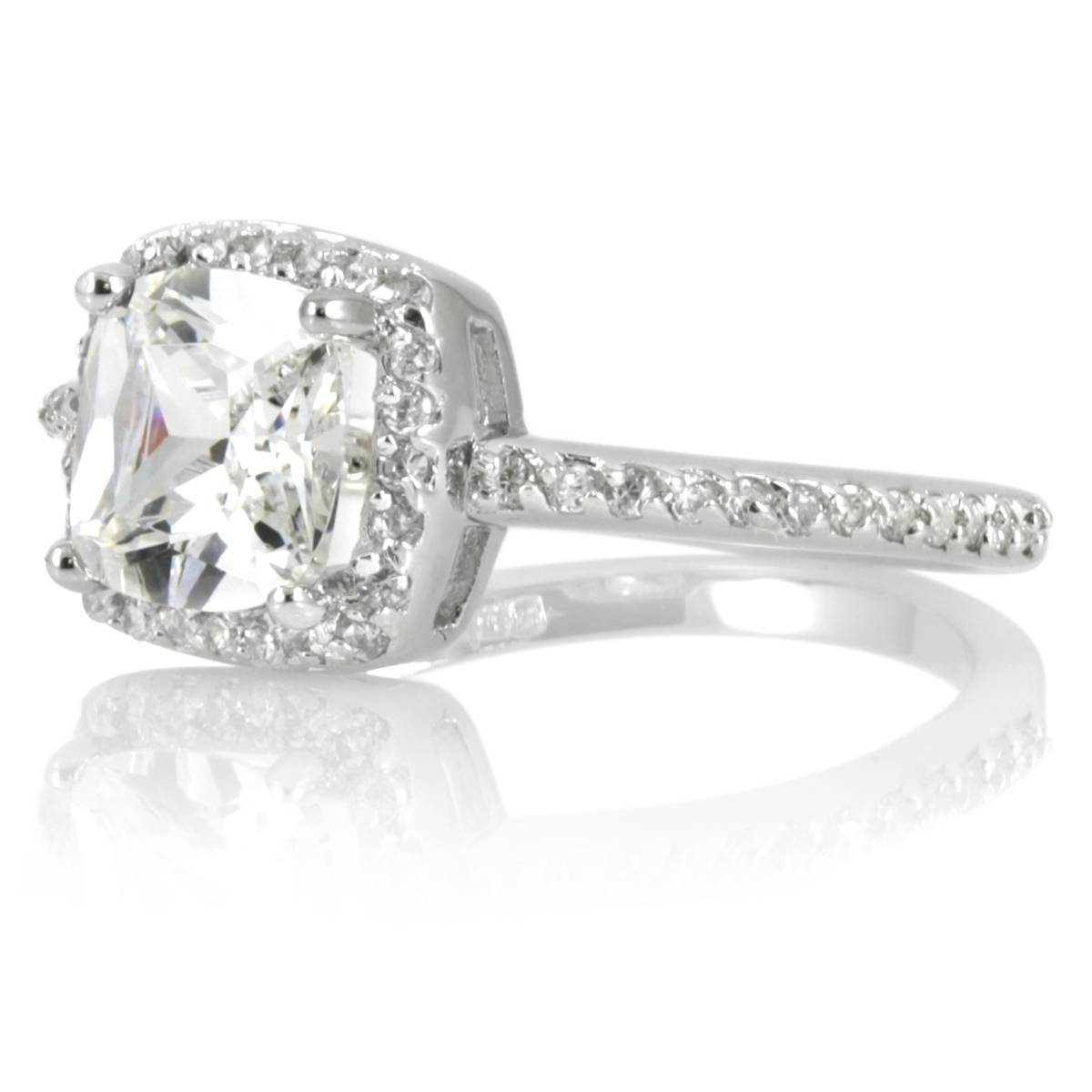 Cz Halo Cushion Cut Engagement Ring With Regard To Wedding Rings Without Nickel (View 4 of 15)