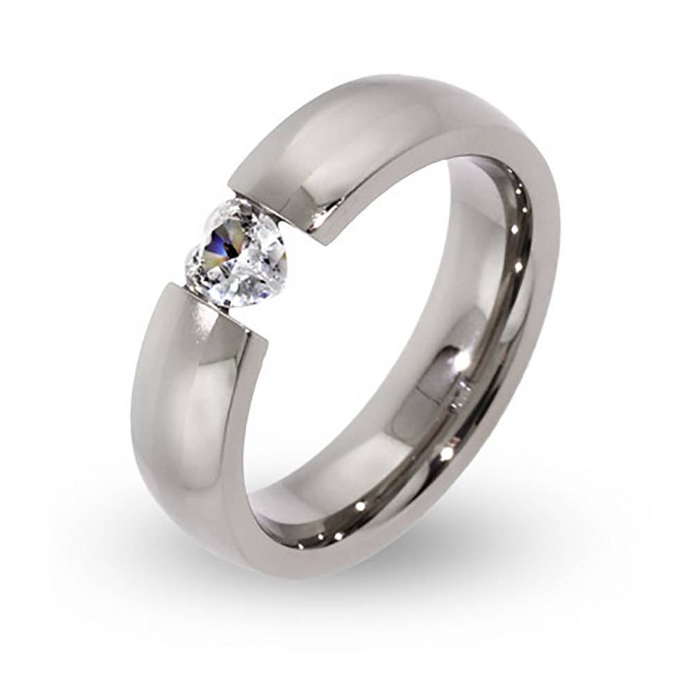 Cz Heart Stainless Steel Ring | Eve's Addiction® For Floating Diamond Wedding Bands (View 6 of 15)
