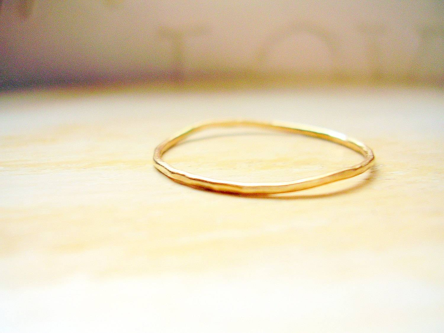 Dainty Gold Ring 14K Gold Very Thin Wedding Band Hammered & Throughout Skinny Wedding Bands (View 2 of 15)