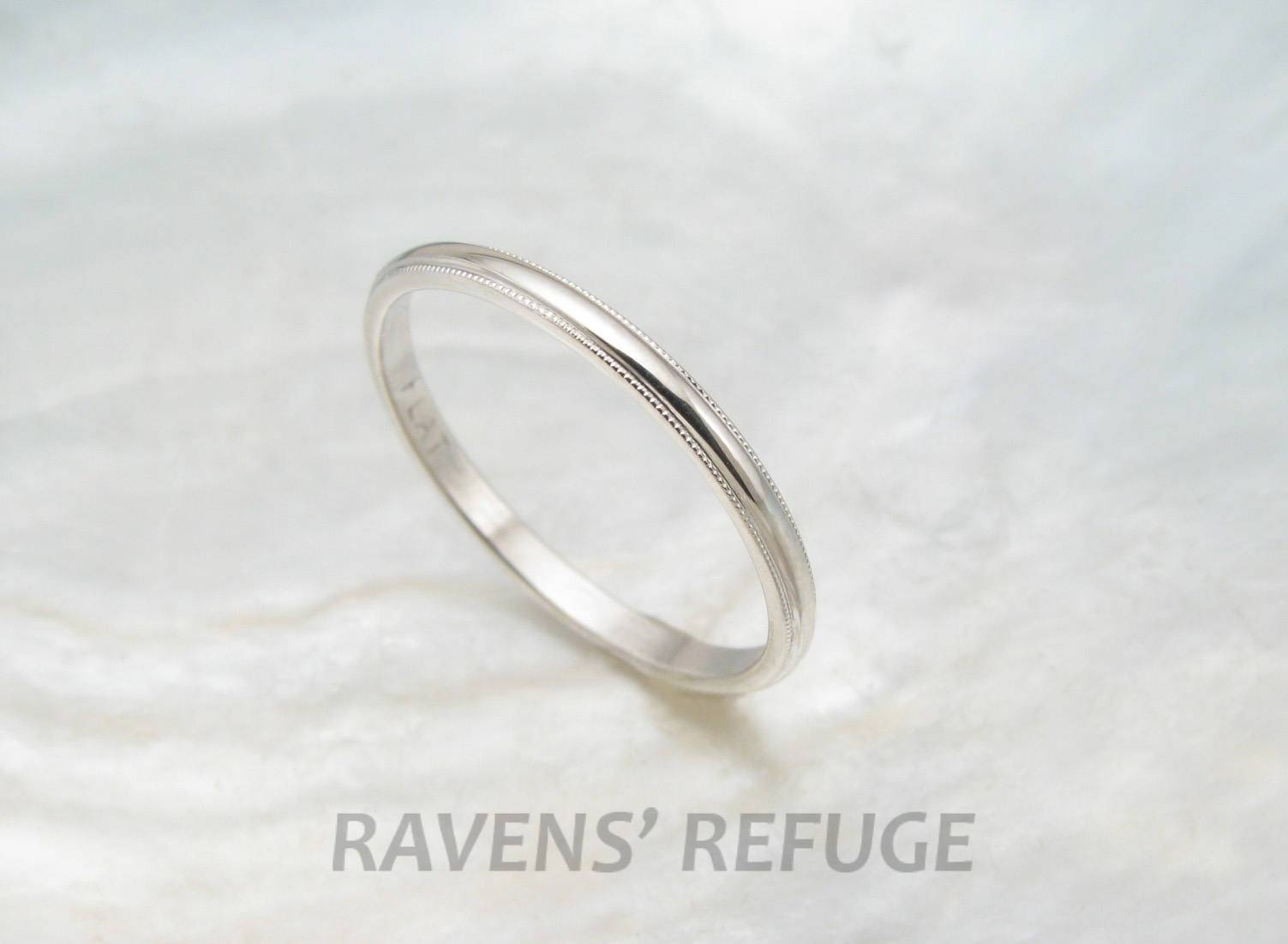 Dainty Wedding Ring Women's Platinum Wedding Band With With Regard To  (View 7 of 15)