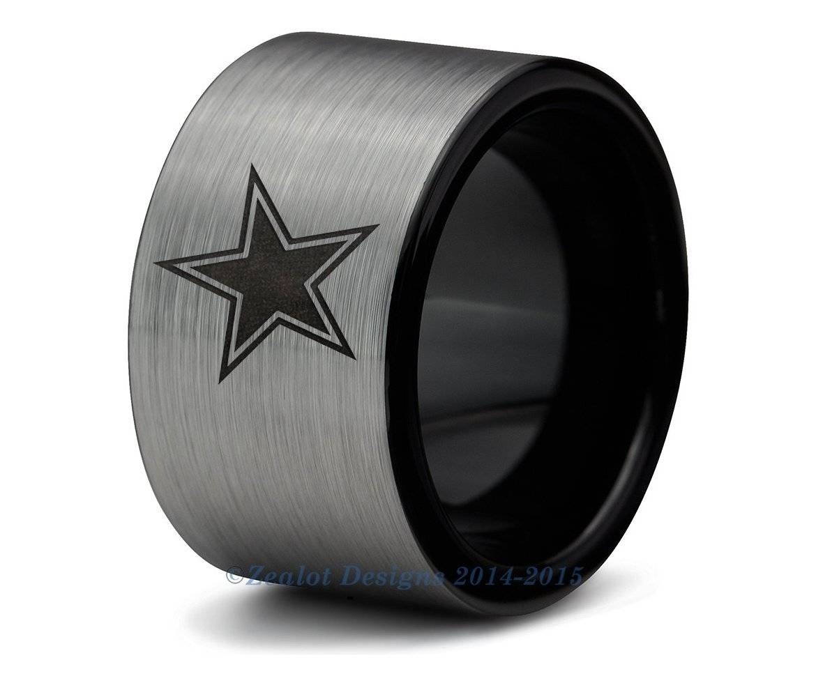Dallas Cowboys Black Tungsten Wedding Band Ring Mens Womens Regarding Dallas Cowboys Wedding Bands (Gallery 2 of 15)