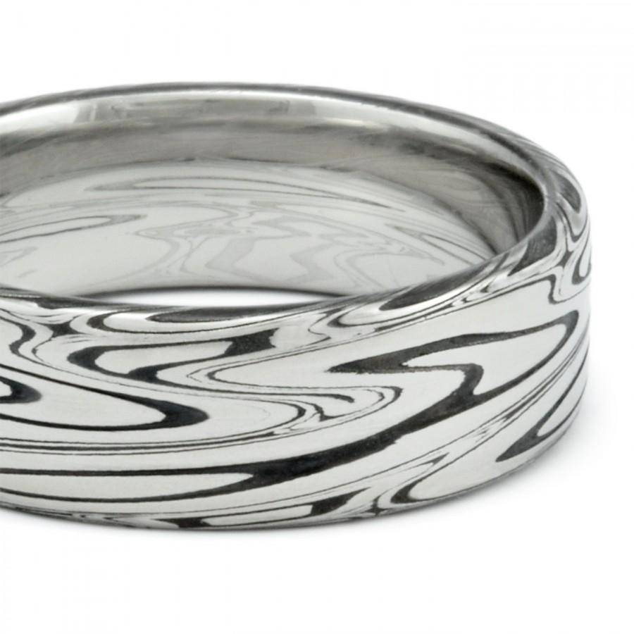 Damascus Mens Wedding Band Flat With Powerful Swirling Current Inside Durable Men's Wedding Bands (View 6 of 15)