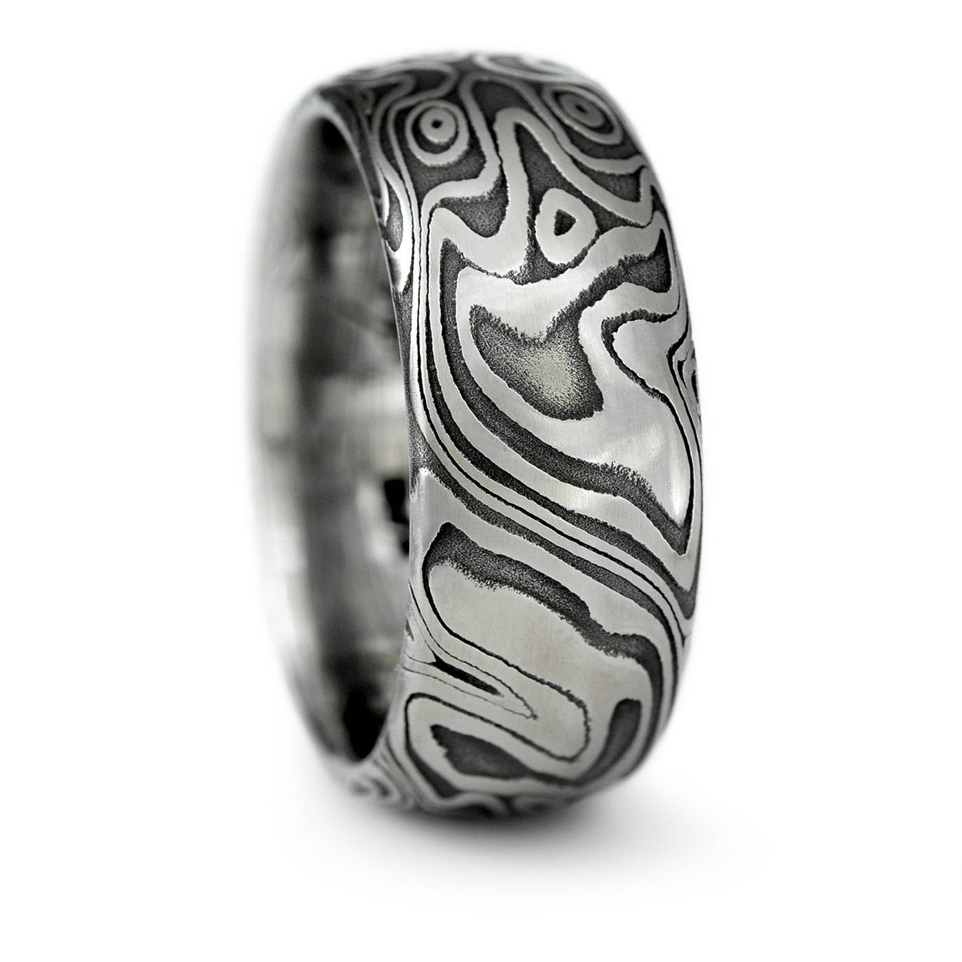 Damascus Steel Domed Wedding Band With Four Pointed Swirling Intended For Damascus Mens Wedding Bands (View 1 of 15)