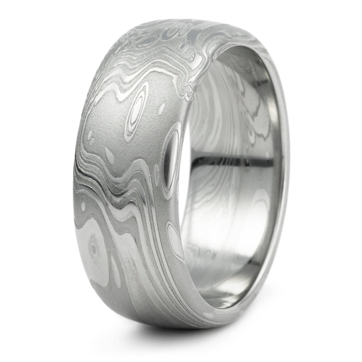 Damascus Steel Domed Wedding Ring Men's Unique Organic For Men's Damascus Wedding Bands (View 2 of 15)