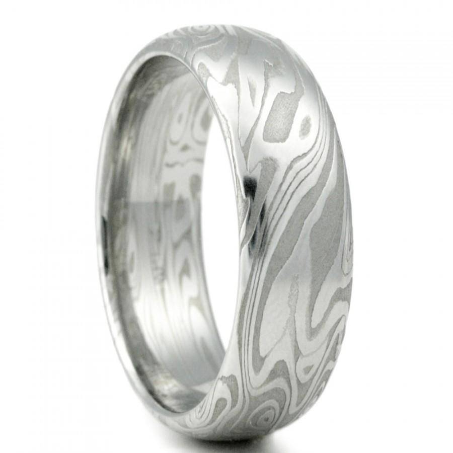 Damascus Steel Mens Wedding Band Four Pointed Swirling Star Intended For Men Wood Grain Wedding Bands (View 2 of 15)