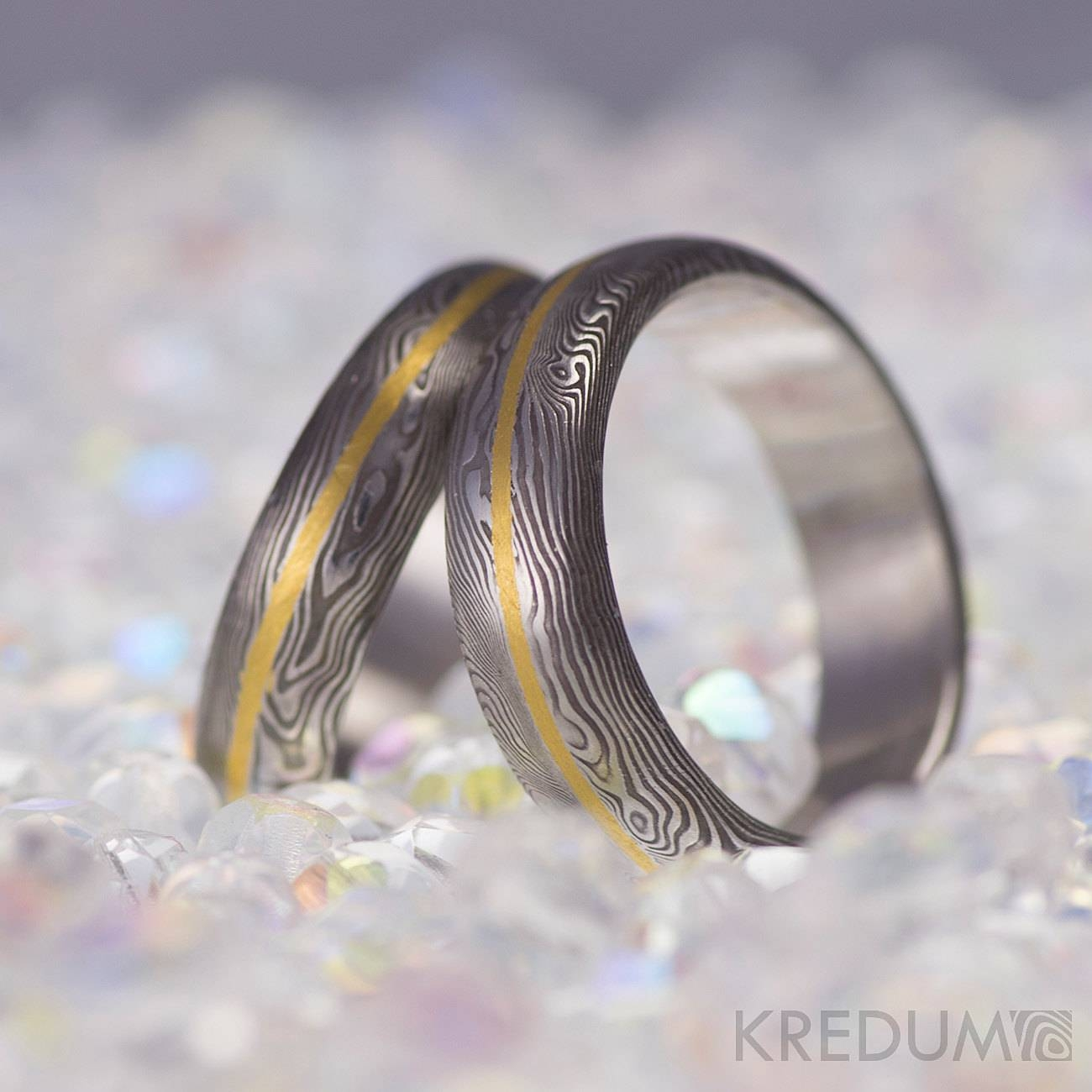 Damascus Steel Wedding Band With A Gold Line Mens Engagement Inside Damascus Mens Wedding Bands (View 2 of 15)
