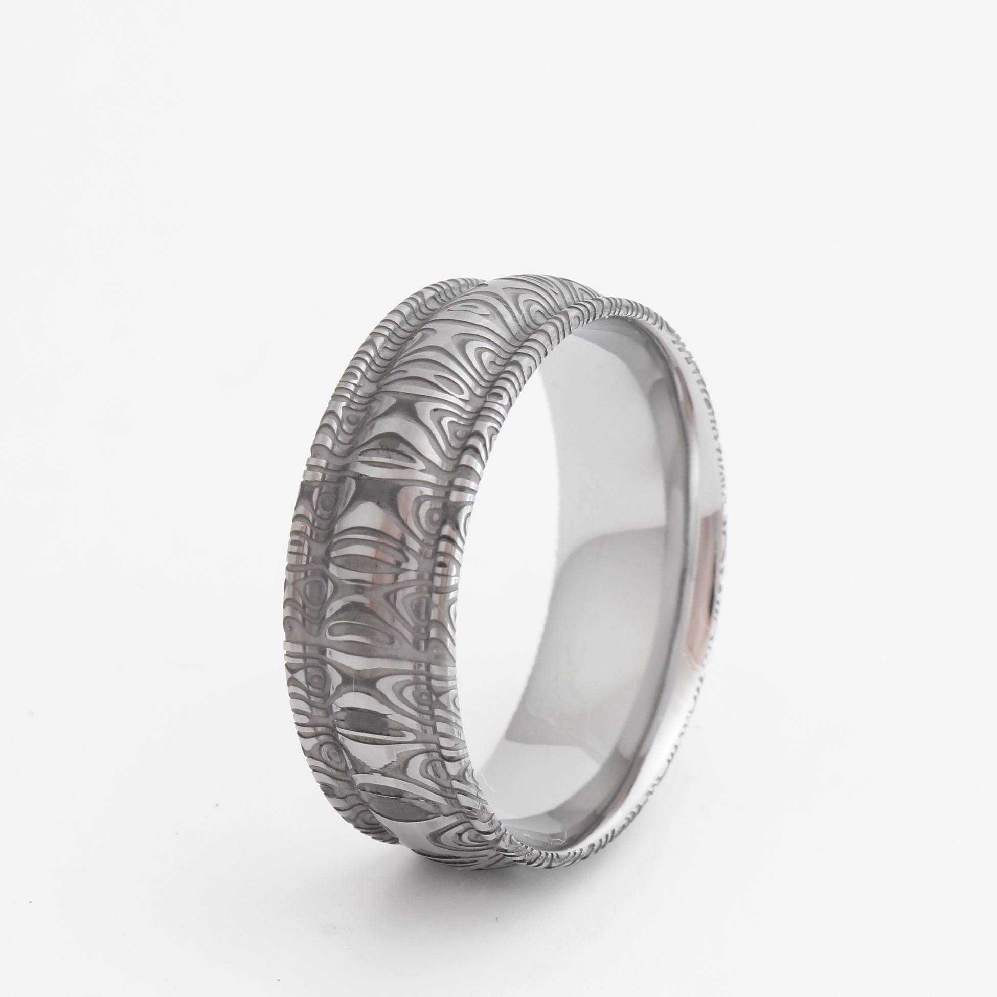 Damascus Wedding Bands With Stainless Steel Intended For Men's Damascus Wedding Bands (View 12 of 15)