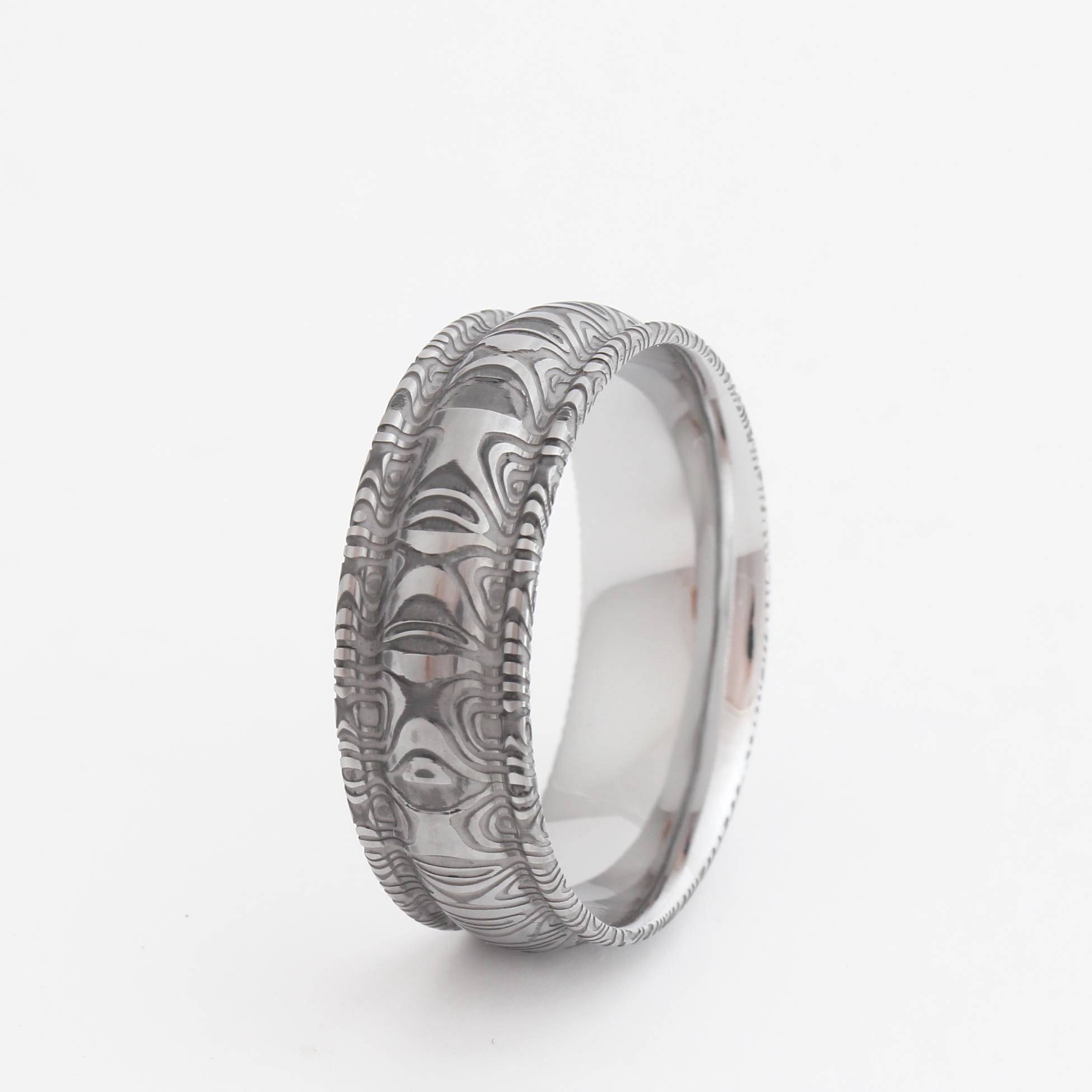 Damascus Wedding Bands With Stainless Steel Intended For Steel Wedding Bands (View 5 of 15)
