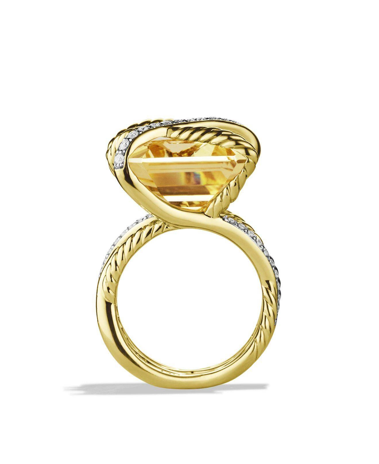 David Yurman Cable Wrap Ring With Champagne Citrine & Diamonds In Throughout Bloomingdales Wedding Bands (View 9 of 16)