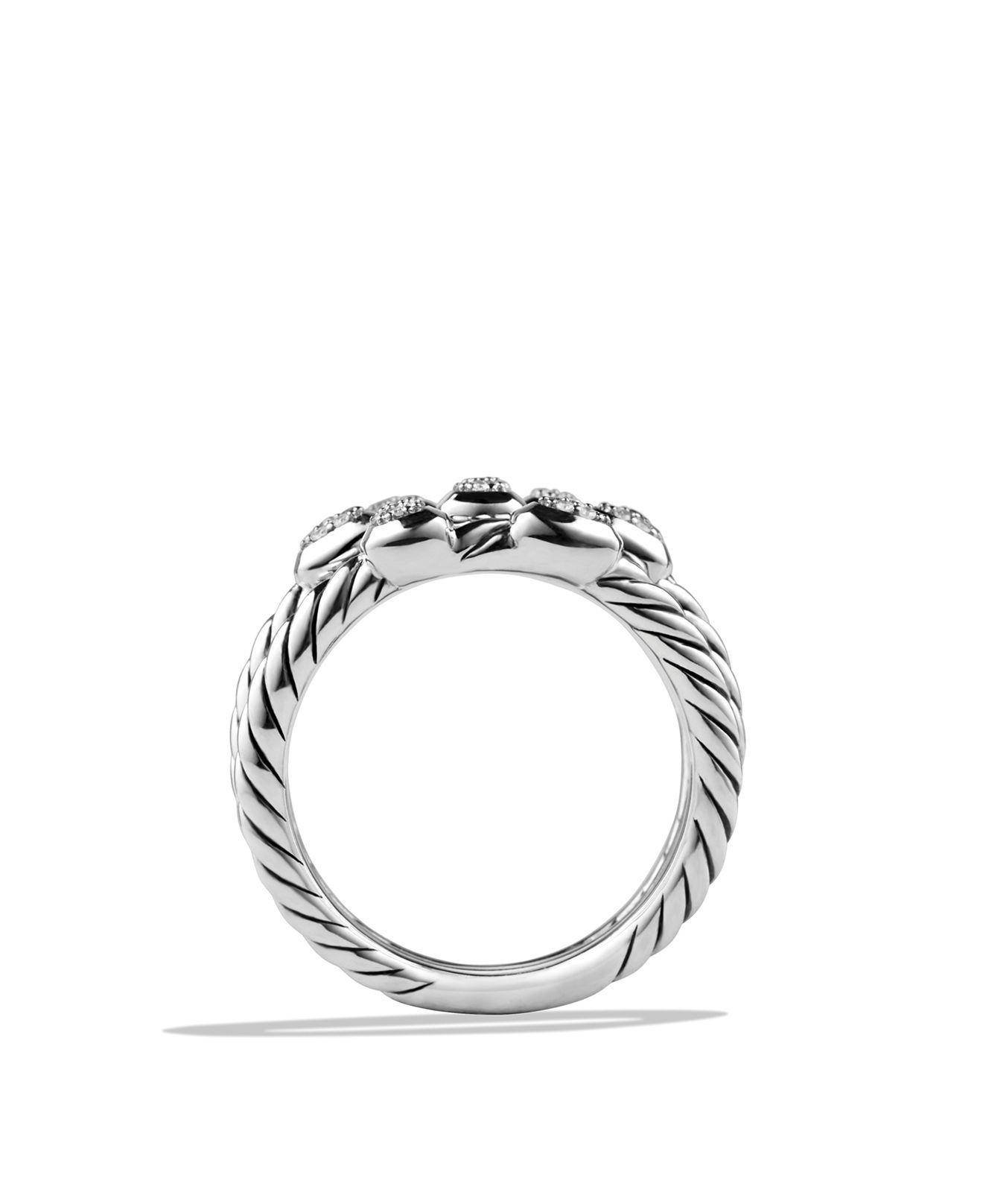 David Yurman Confetti Ring With Diamonds In Metallic | Lyst Pertaining To Bloomingdales Wedding Bands (View 11 of 16)