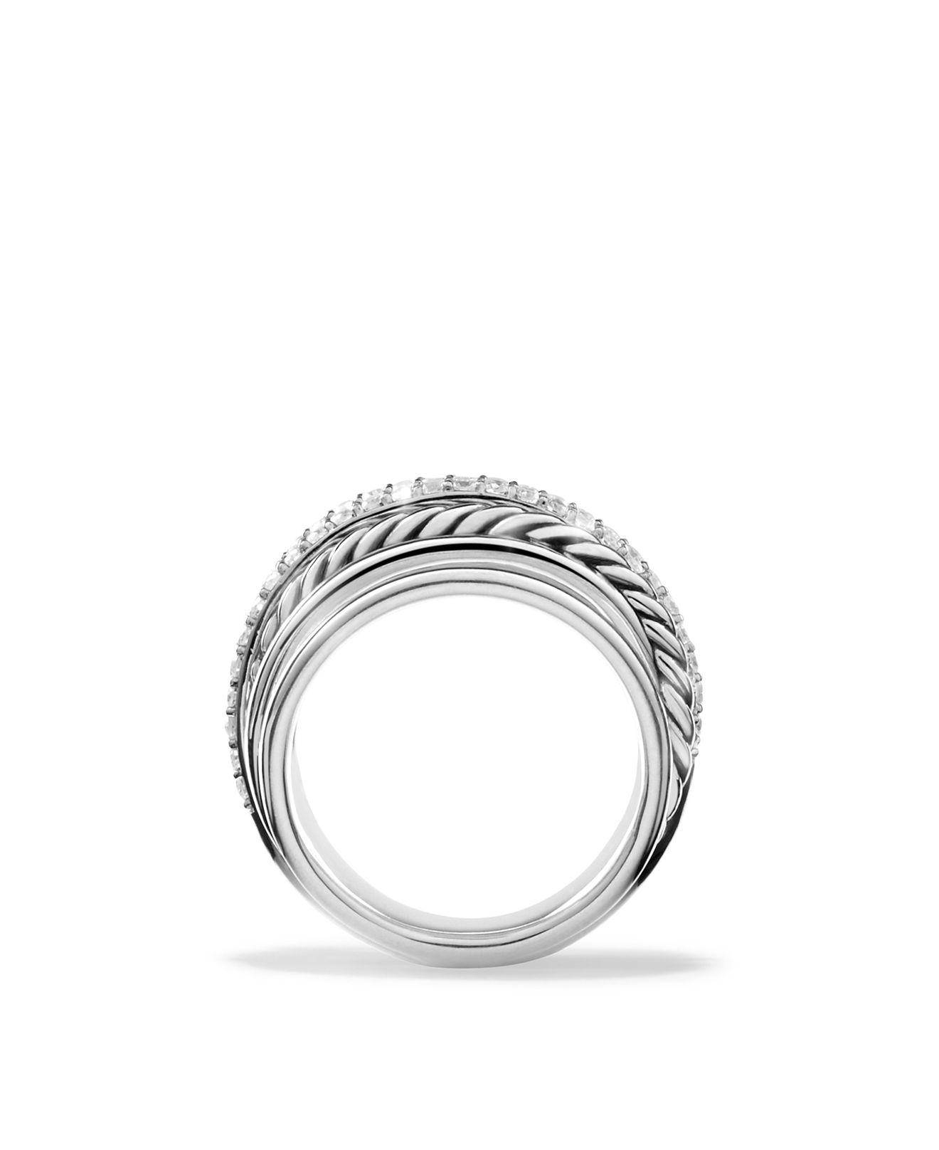 David Yurman Crossover Dome Ring With Diamonds In Metallic | Lyst For Bloomingdales Wedding Bands (View 12 of 16)