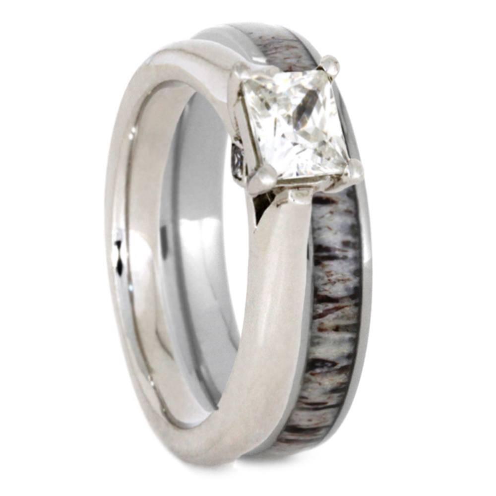 Deer Antler Bridal Set With Moissanite Engagement Ring And Antler Ring With Regard To Deer Antler Wedding Bands (View 4 of 15)